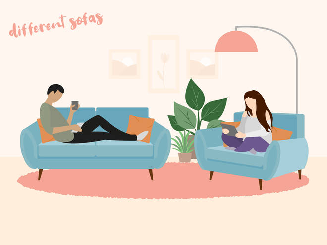 Sitting on different sofas