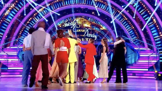 The celebrities rush to console Vick Hope and her partner while Seann Walsh and Katya Jones look on