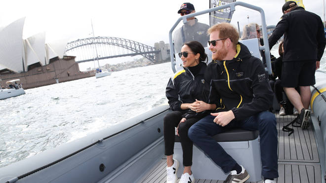 Meghan Markle and Prince Harry go for a spin around Sydney harbour