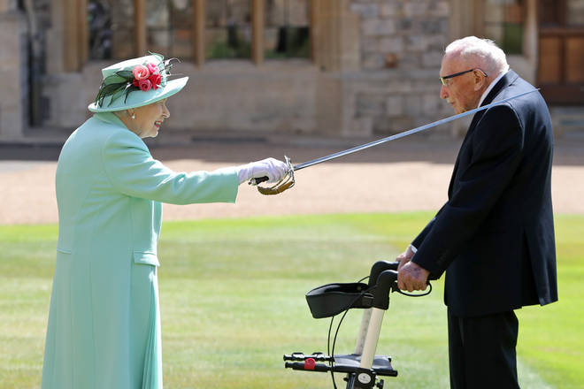 Captain Tom was knighted by the Queen last July