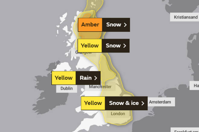 Snow and ice is expected for a large majority of the UK on Saturday