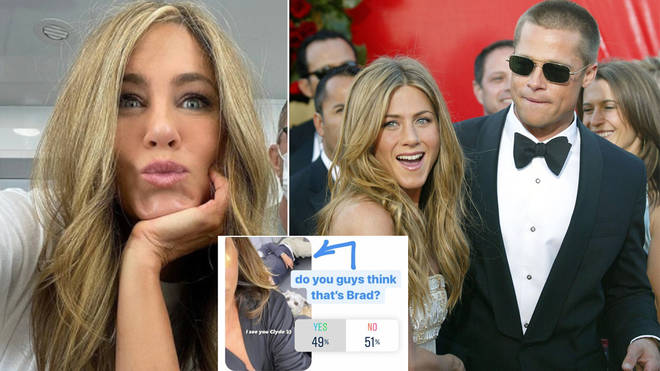 Jennifer Aniston fans think Brad Pitt is in the background of her selfie