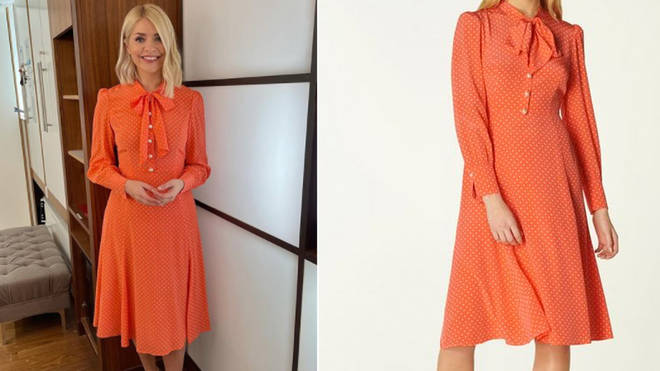 Holly Willoughby is wearing an orange dress from LK Bennett