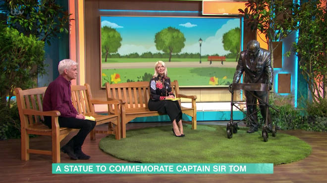 The statue of Sir Tom was moved into the This Morning studio