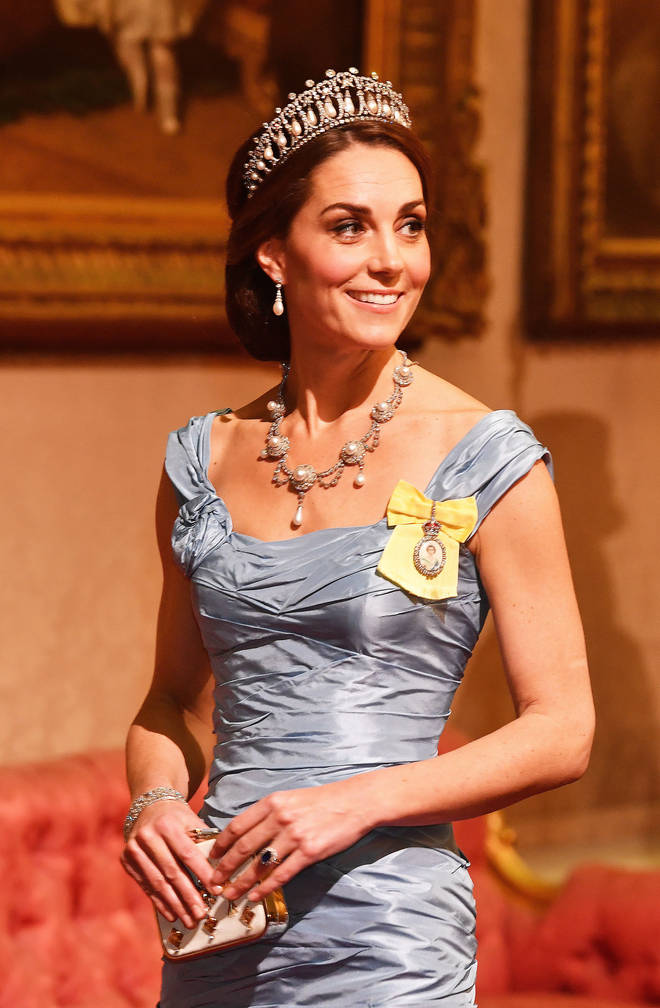 Kate Middleton wears the Lover's Knot Tiara at the state banquet