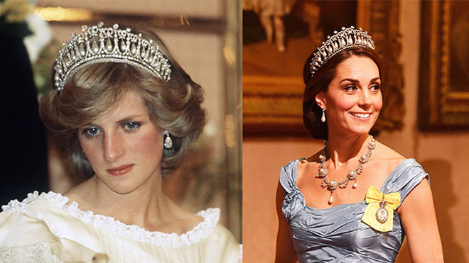 Left: Princess Diana wears the Lover's Knot Tiara at a state banquet in New Zealand Right: The Duchess of Cambridge at last night's banquet