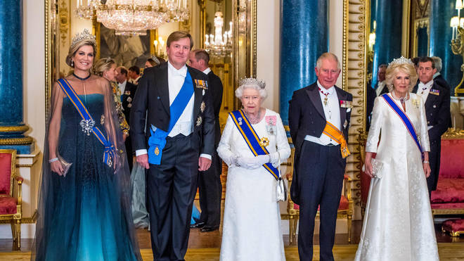 From L to R: Queen Maxima, King Willem-Alexander, Queen Elizabeth, Prince Charles, Camilla Duchess of Cornwall