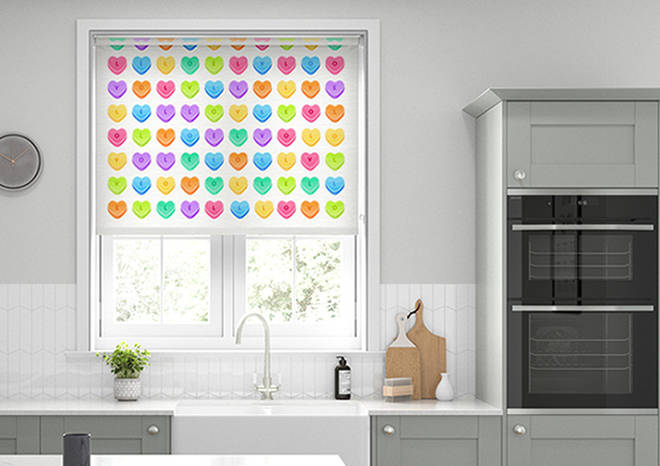 Here's the Looking For Love roller blind in action