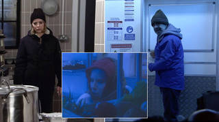 Debbie and Kevin Webster are trapped in a fridge in Coronation Street