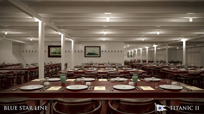 The third class dining area on Titanic II