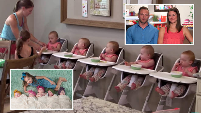 Couple who wanted one more baby end up with quintuplet daughters and now change 420 nappies a week