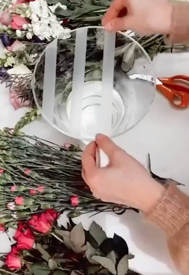 Creating the grid on the vase means the flowers will stay in place and will look fuller
