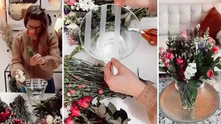 Woman makes supermarket flowers look like expensive luxury bouquet with simple tape hack