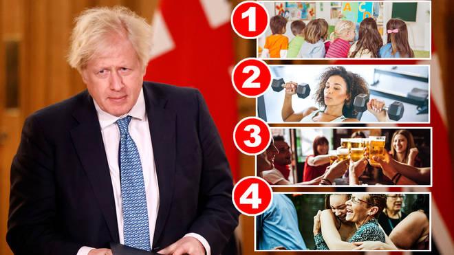 Boris Johnson has announced a four-step plan out of lockdown