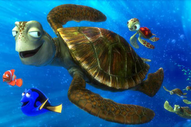 We first meet Crush and Squirt in Finding Nemo
