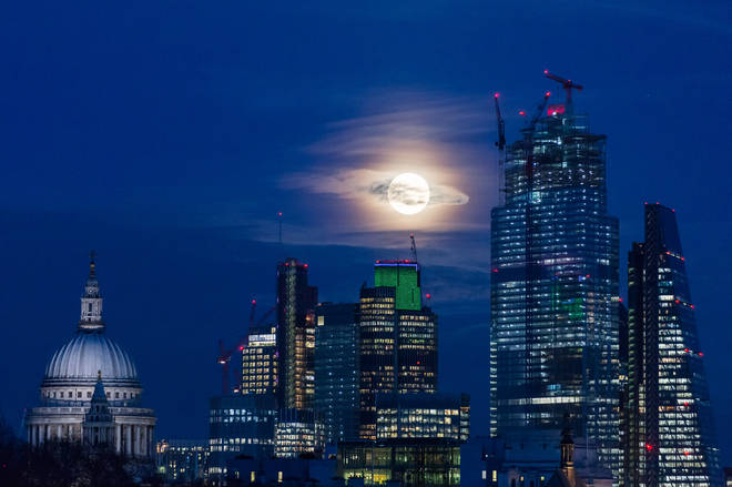 This beautiful view was taken of the Snow Moon in London last year
