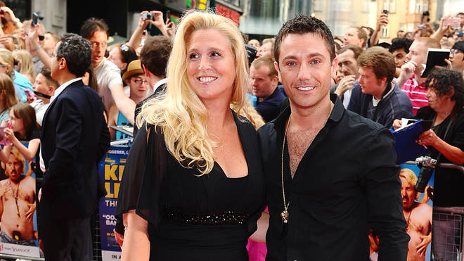 Gino D'Acampo and his wife pose on the red carpet