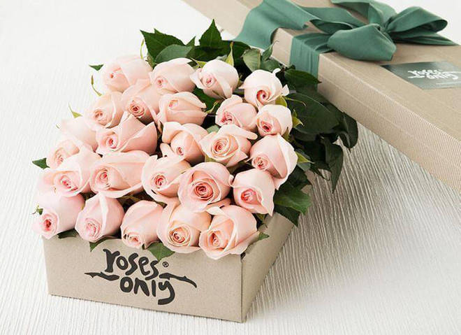 Surprise mum with 24 baby pink roses