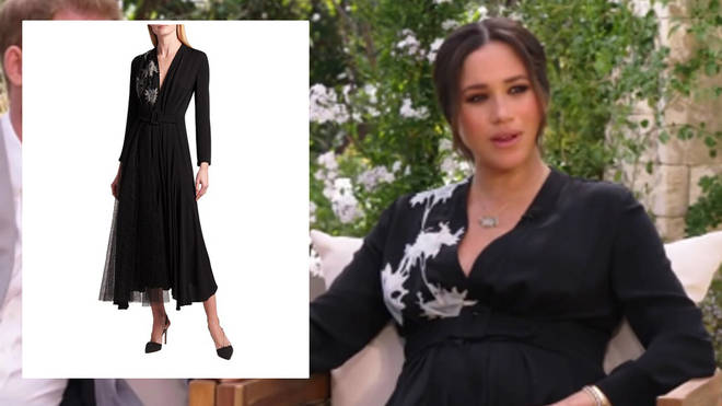 Meghan Markle wore a black silk dress by Armani for her interview with Oprah Winfrey