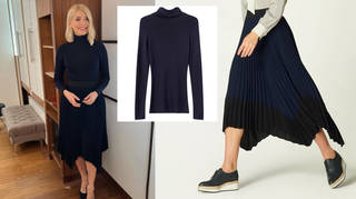 Holly Willoughby is wearing a skirt and matching jumper
