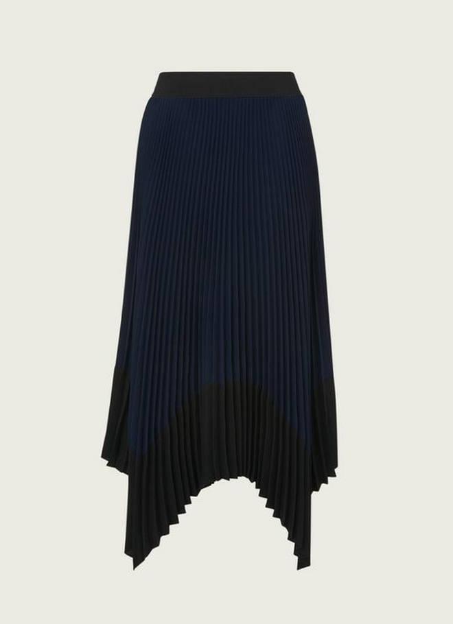 Holly Willoughby's navy skirt is from LK Bennett