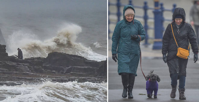 The UK is being hit with heavy downpours and strong winds