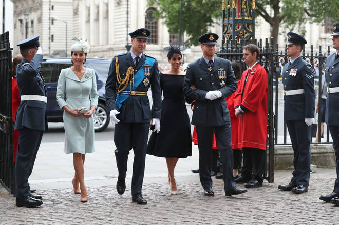 Kate, William, Meghan and Harry arrive at Westminster Abbey in July 2018
