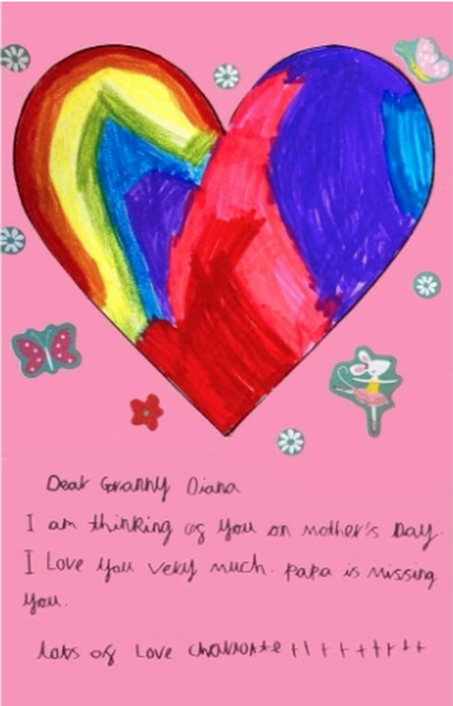 Princess Charlotte created a pink card with a heart on it in honour of Princess Diana