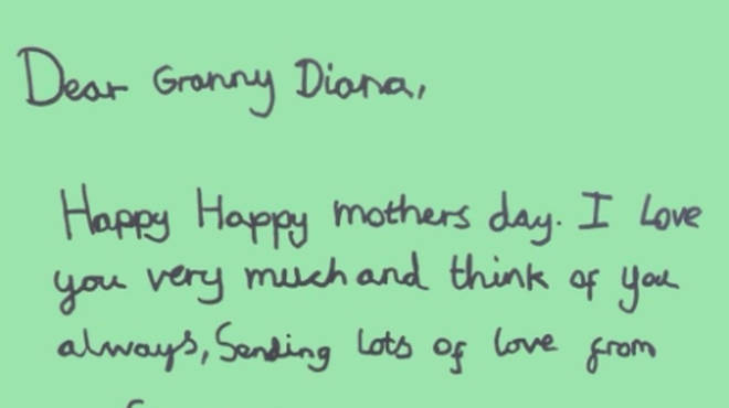 Prince George wrote a special message to Diana saying he 'thinks of her always'
