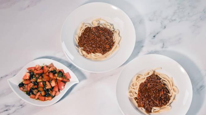 Vegan tagliatelle Bolognese with Tomato, Olive, Caper & Basil Salad