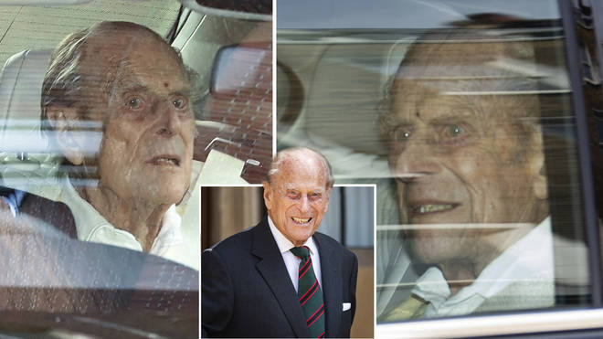 Prince Philip was pictured leaving the hospital this morning