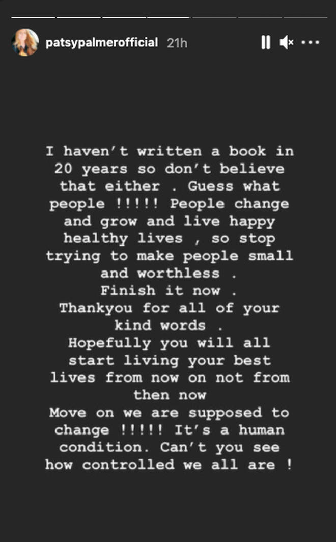 Patsy Palmer had previously posted this message on her Instagram story