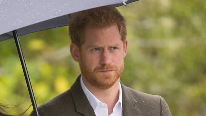 Prince Harry looks serious