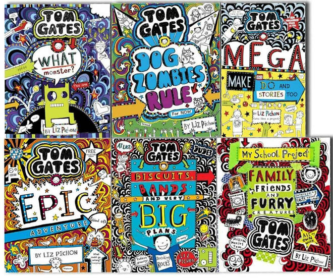 Six of the 18 Tom Gates books written and illustrated by Liz Pichon