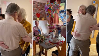 Heartwarming moment elderly couple are reunited for their 65th wedding anniversary after a year apart