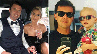 Greg Shepherd posing with Billie Faiers and daughter Nelly