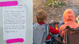 The heartwarming note was shared to Facebook (right: stock image)