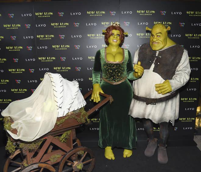 Heidi Klum and her boyfriend Tom Kaulitz went as famous ogres Shrek and Princess Fiona