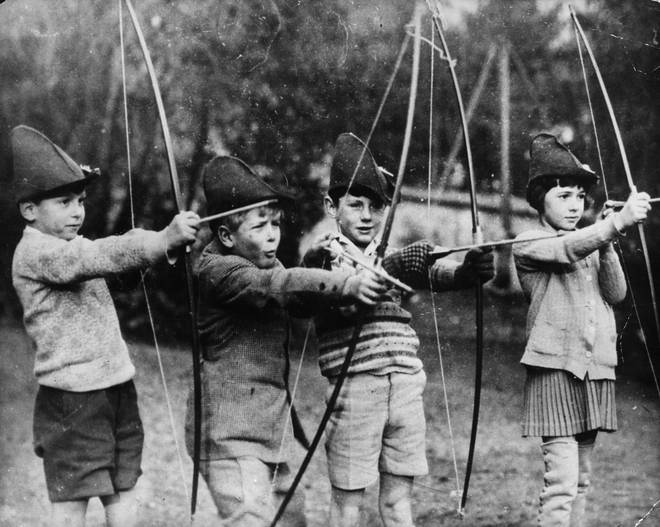 Prince Philip (second from the left) plays with his school friends in 1929