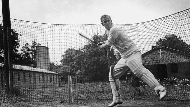 Prince Philip plays cricket in July 1947