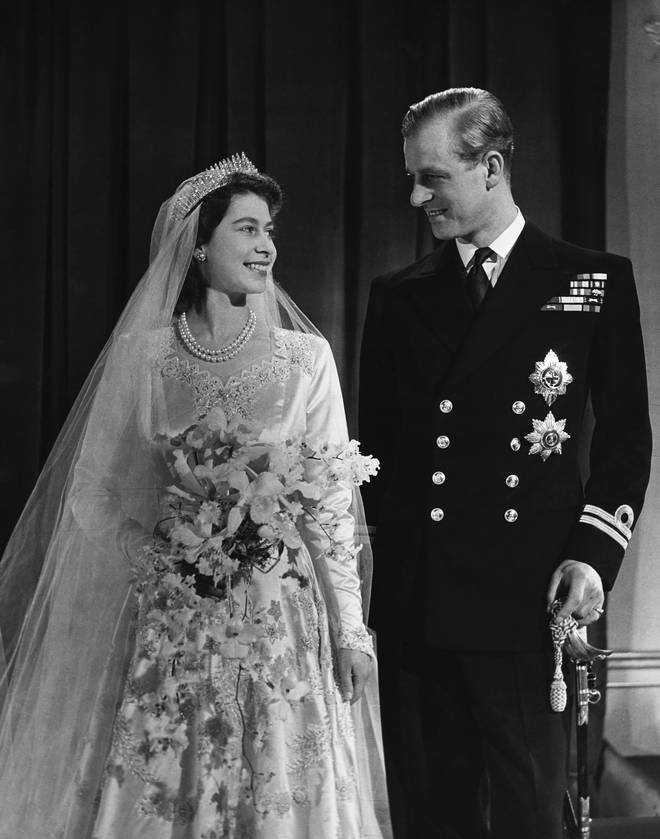 Prince Philip and The Queen on their wedding day on 20 November 1947