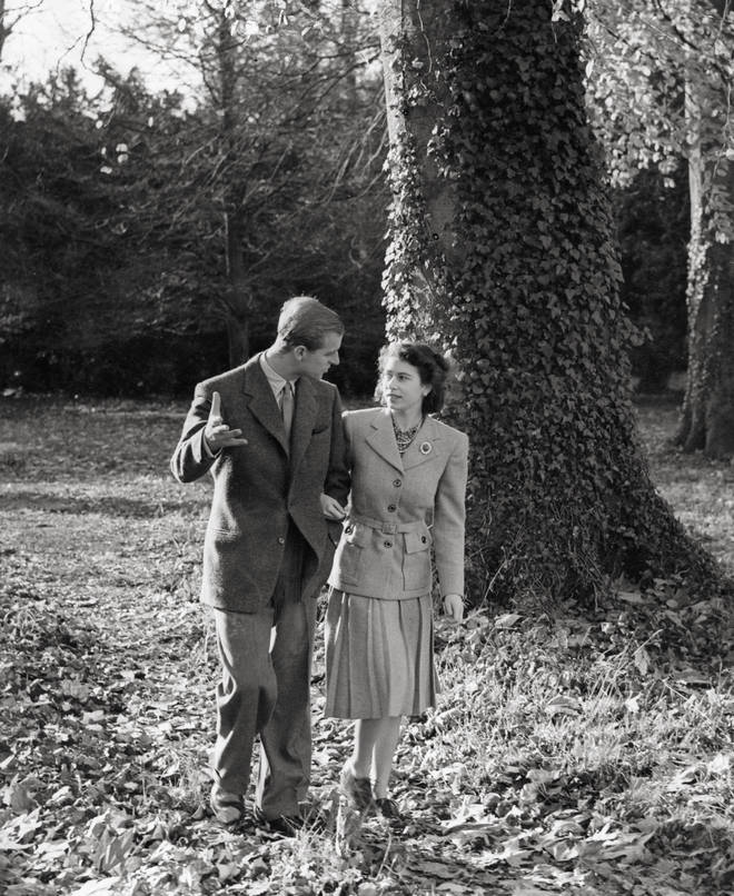 The Queen and Prince Philip in 1947 on their Honeymoon in Broadlands, Hampshire, the home of the Duke's uncle, Earl Mountbatten