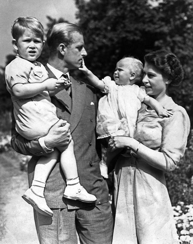 Prince Philip with Prince Charles and Princess Anne in 1952