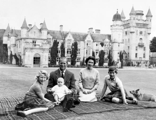 Princess Anne, Prince Philip, Prince Andrew, the Queen and Prince Charles on the lawn of Balmoral