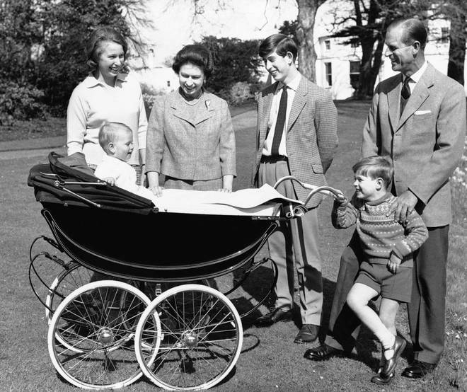 Princess Anne, Prince Edward, the Queen, Prince Charlies, Prince Andrew and Prince Philip on the grounds of Windsor Castle