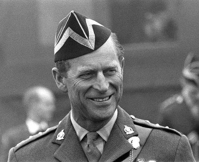 Prince Philip on a visit to the Queen's Royal Irish Hussars wearing his uniform as Colonel-in-chief