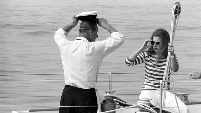 Prince Philip with Princess Anne aboard the yacht Yeoman XVI during Cowes Week.