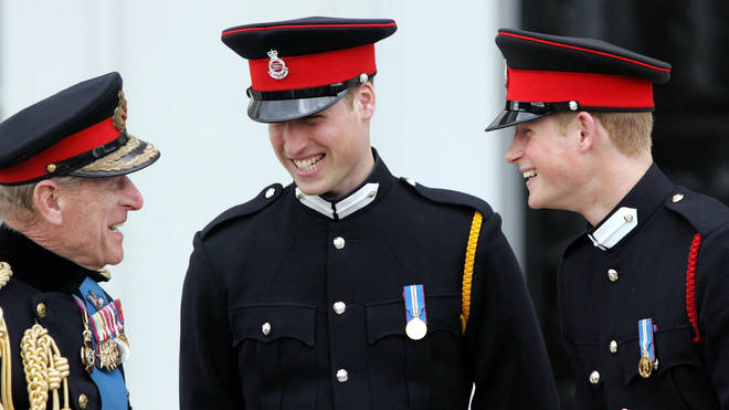 Prince Philip with Prince William and Prince Harry in 2006 at Sandhurst Royal Military Academy