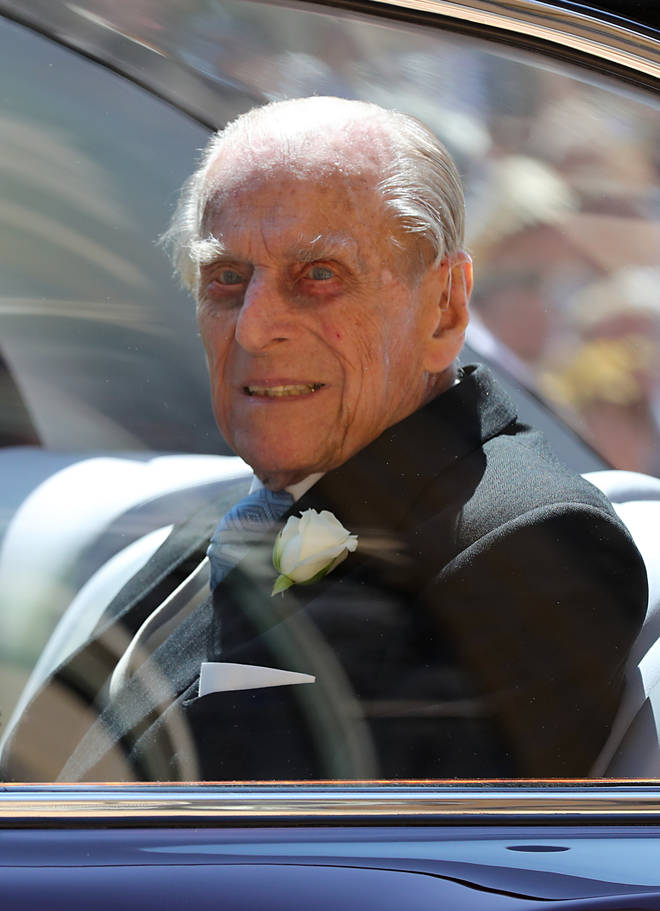 Prince Philip arrives at Windsor Castle for the wedding of Prince Harry and Meghan Markle in 2018