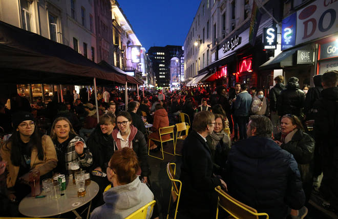 Soho in London was packed with revellers on Monday